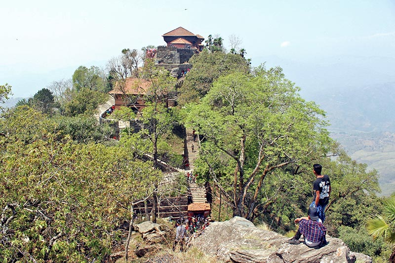 Visitors observe the Gorkha Durbar situated on the top of a hill in Gorkha, district headquarters of Gorkha district, as captured on Tuesday, April 4, 2017. Photo: RSS