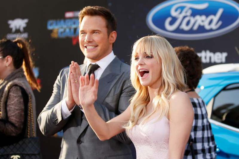 Actors Chris Pratt (left) and wife Anna Faris pose at the world premiere of Marvel Studios' 'Guardians of the Galaxy Vol. 2' in Hollywood, California. Photo: Reuters
