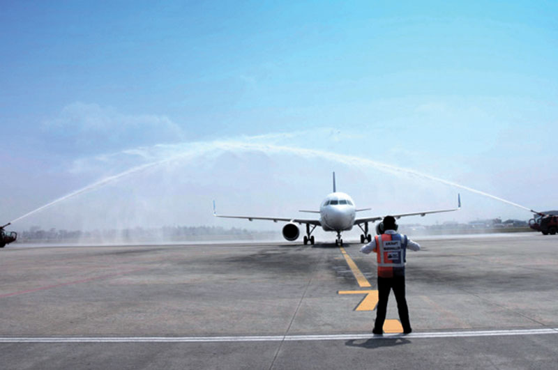 Himalaya Airlinesu2019 new Airbus A320-214 aircraft receiving water cannon salute after it landed at Tribhuvan nInternational Airport, in Kathmandu, on Friday, March 31, 2017. Photo Courtesy: Himalaya Airlines