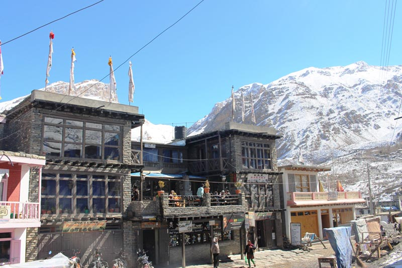 FILE - Newly opened well-facilitated hotels in the bosom of a snow-covered mountain range in Muktinath of Mustang district, on Thursday, April 13, 2017. Photo: RSS