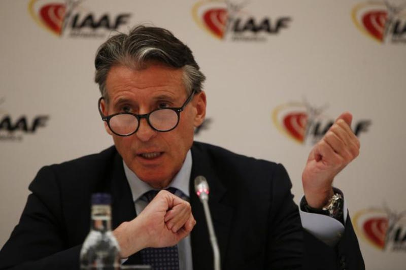 IAAF President Sebastian Coe addresses during the  IAAF Press Conference in London Marriott Hotel, West India Quay, Canary Wharf, on April 13, 2017. Photo:Reuters