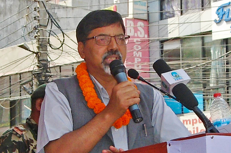 Minister for Energy Janardan Sharma speaks at a programme in Pokhara, on Friday, April 28, 2017. Photo: RSS