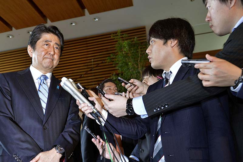 Japanese Prime Minister Shinzo Abe speaks to reporters at his office following North Korea's latest ballistic missile launch in Tokyo on April 5, 2017. Photo: Kyodo via Reuters
