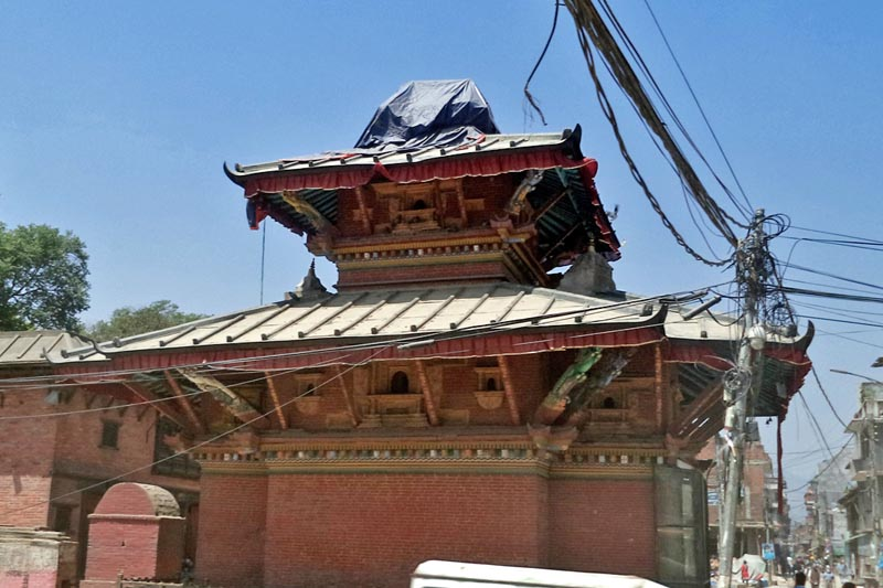 The Jaya Bageshwori Temple in Kathmandu awaits reconstruction after being damaged inthe 2015  earthquake, as captured on Monday, April 10, 2017. Photo: RSS