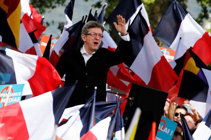 Jean-Luc Melenchon of the French far left Parti de Gauche and candidate for the 2017 French presidential election, attends a political rally in Toulouse, Southwestern France, on April 16, 2017. Photo: Reuters