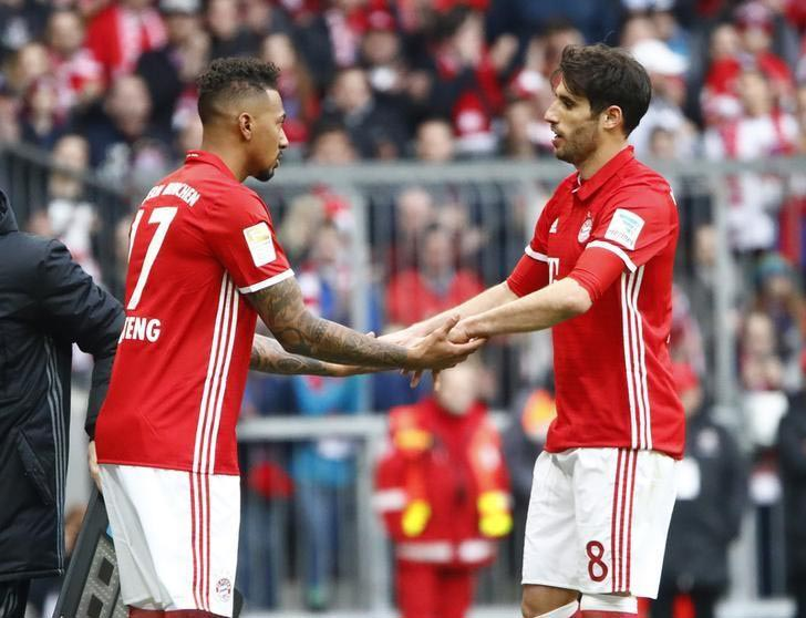 Bayern Munich's Jerome Boateng substututes Javier Martinez. Photo: REUTERS