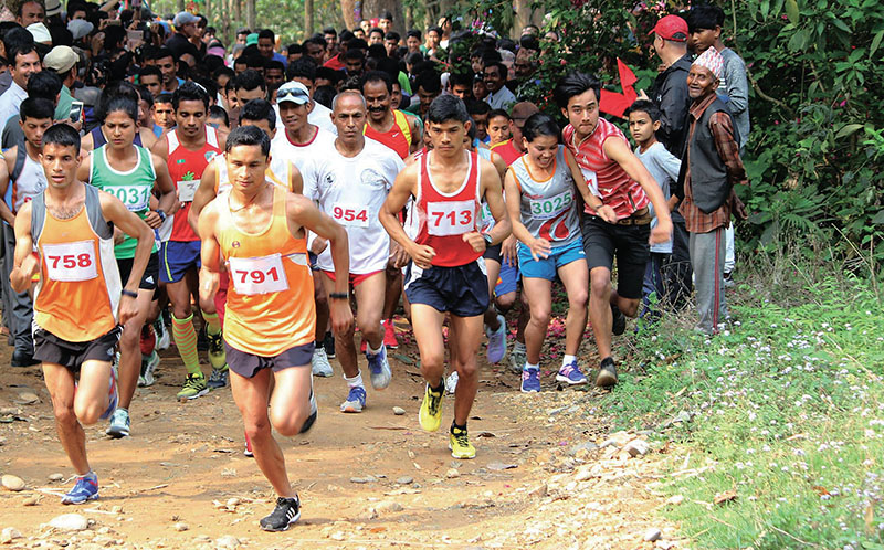 Athletes taking part in the Jhiltung National-level Cross Country Race Championship in Kolputar, Nuwakot on Saturday, April 01, 2017. Photo: THT