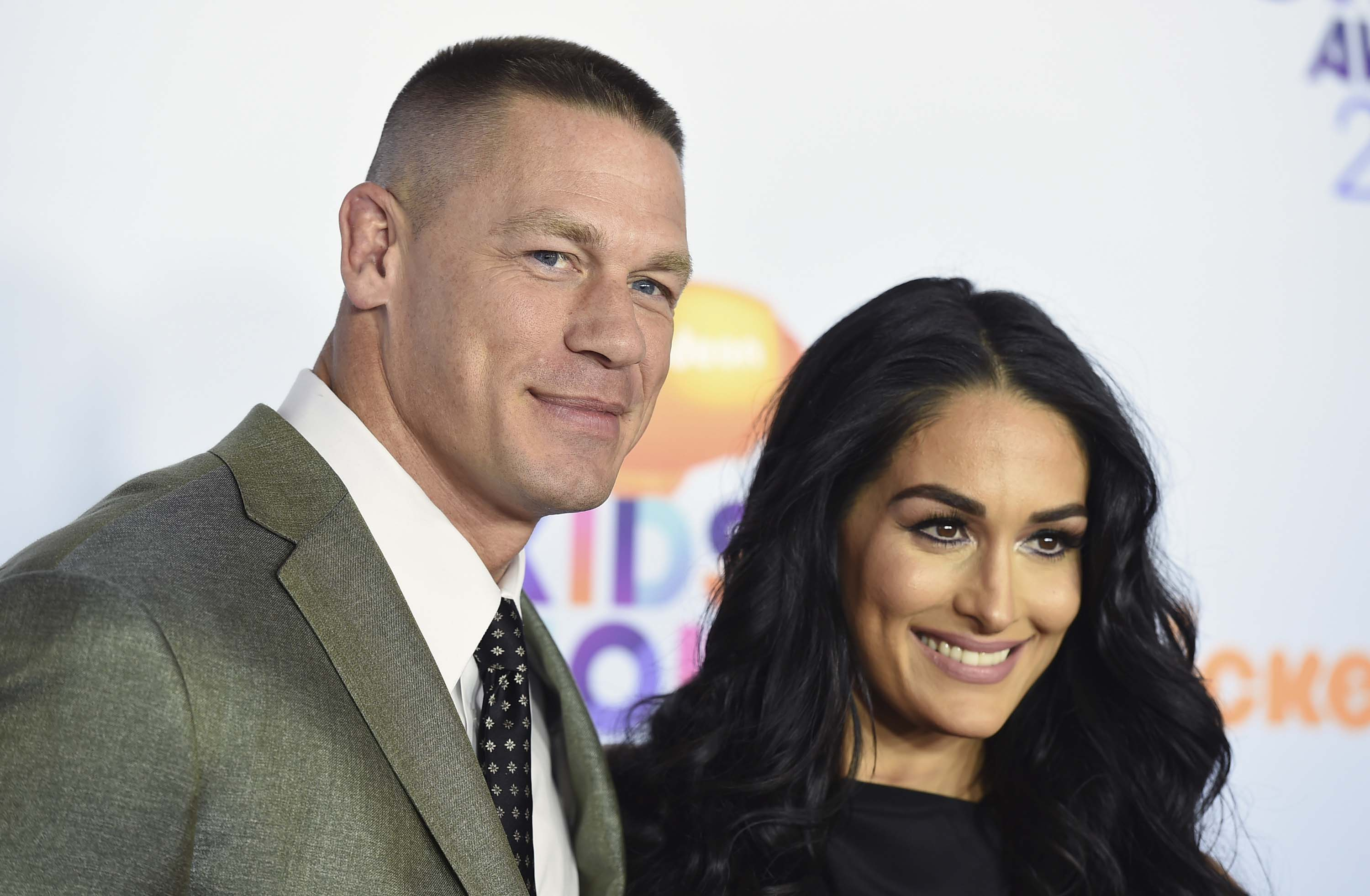 John Cena and Nikki Bella arrive at the Kids' Choice Awards at the Galen Center, on Saturday, March 11, 2017, in Los Angeles. Photo: AP
