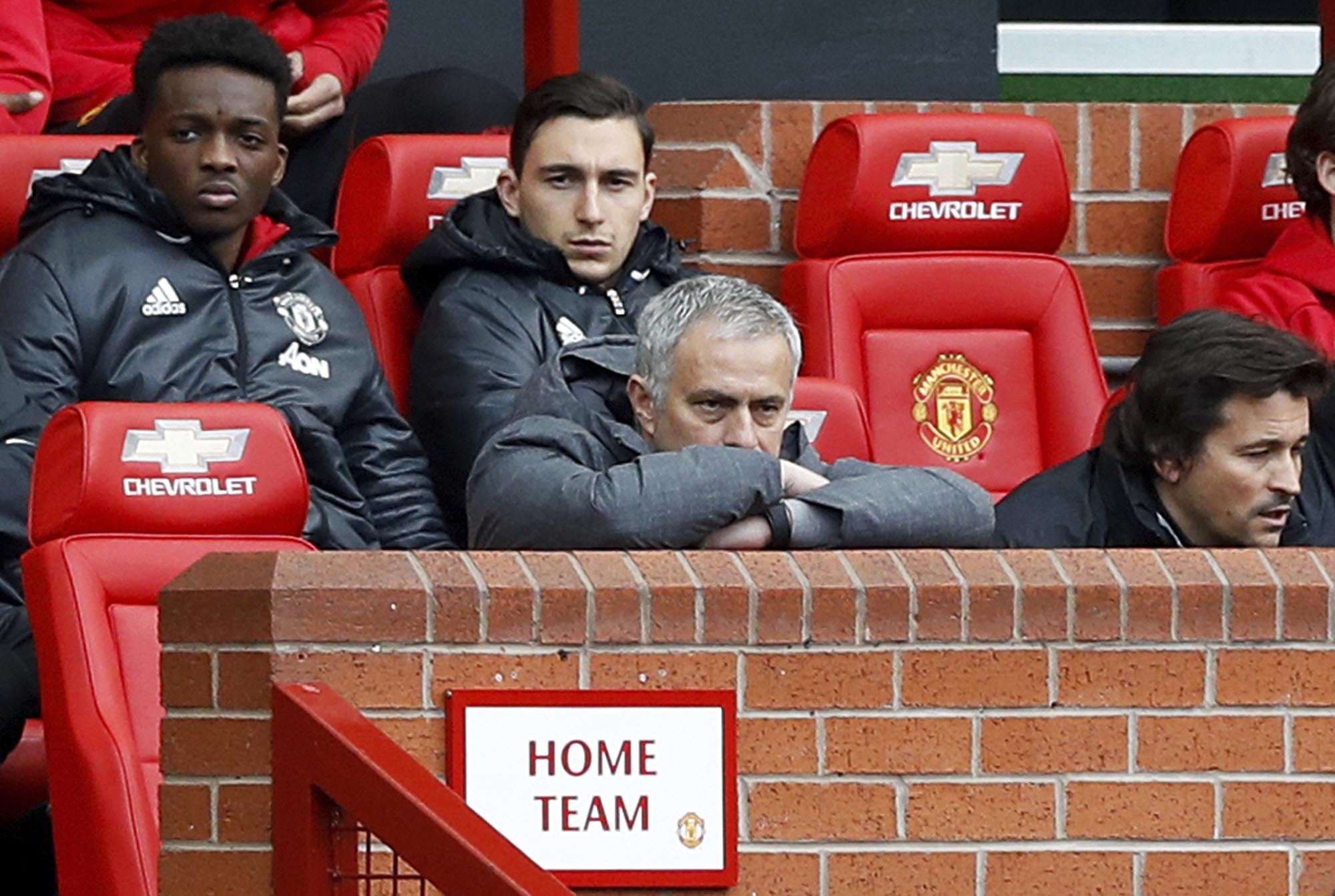 Manchester United manager Jose Mourinho, centre, looks out during the match against West Bromwich Albion during the English Premier League soccer match at Old Trafford in Manchester, England, on Saturday April 1, 2017. AP