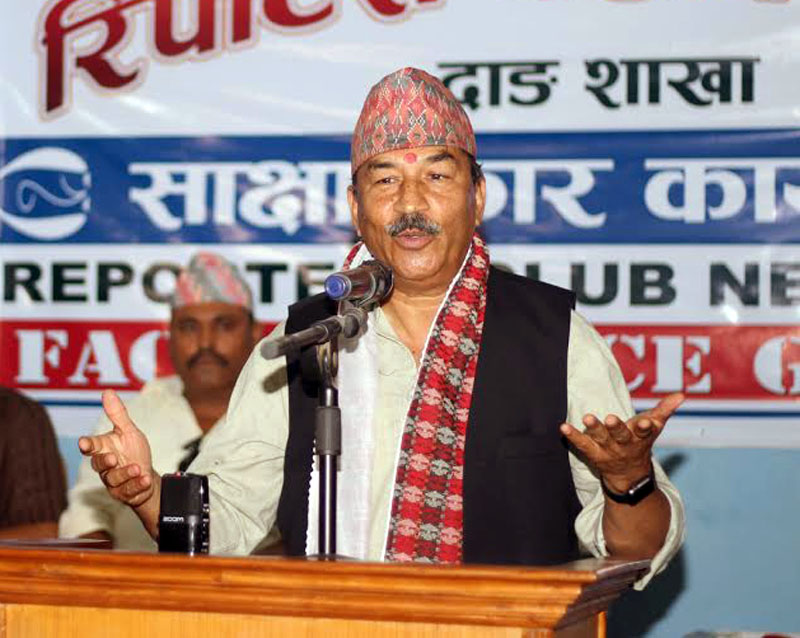 Deputy Prime Minister and Rastriya Prajatantra Party chairman Kamal Thapa addresses an interaction programme in Tulsipur of Dang district on Tuesday, April 18, 2017. Photo courtesy: Reporter's Club
