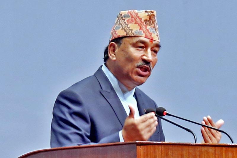 DPM Kamal Thapa speaks at the Legislature-Parliament, in Kathmandu, on Wednesday, April 26, 2017. Photo: RSS