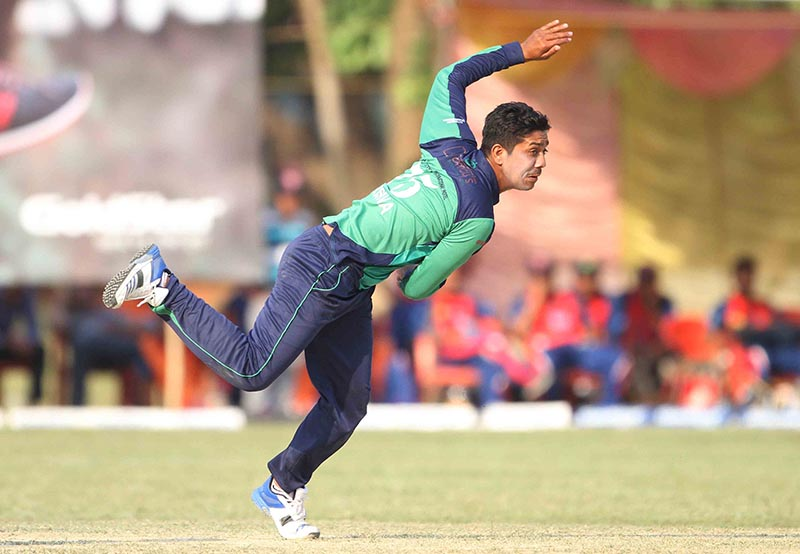 Krishna Karki of Rupandehi Challengers bowls against Kanchanpur Iconic during their Sagarmatha Cement Dhangadhi Premier League match at the SSP grounds in Dhangadhi on Monday, April 10, 2017. Photo: Udipt Singh Chhetry/THT