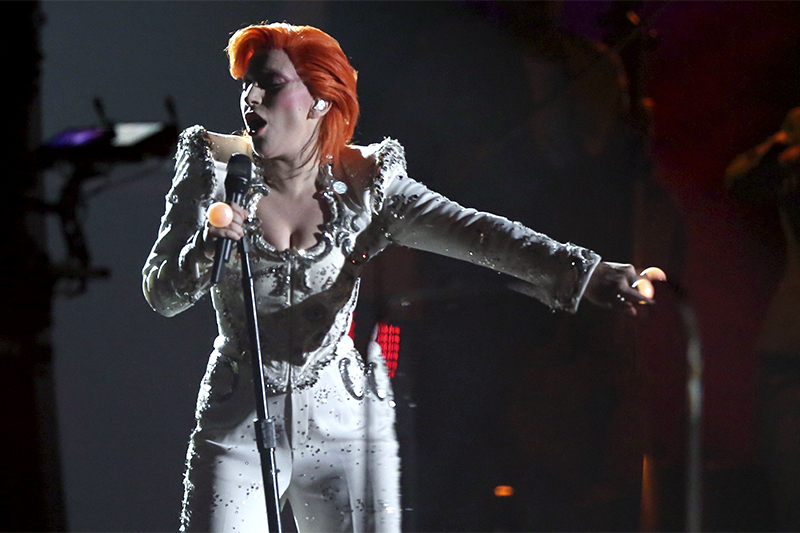 FILE - In this Feb. 15, 2016, file photo, Lady Gaga performs a tribute to David Bowie at the 58th annual Grammy Awards in Los Angeles. Gaga's tribute won a pair of Webby Awards announced on April 25, 2017. Photo: AP
