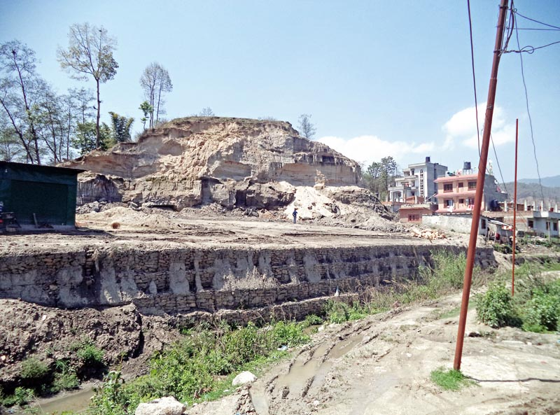 A land is being prepared to sell for human settlement, in Gokerneshwor Municipality on the northern outskirts of Kathmandu, on Monday, April 3, 2017. Photo: RSS