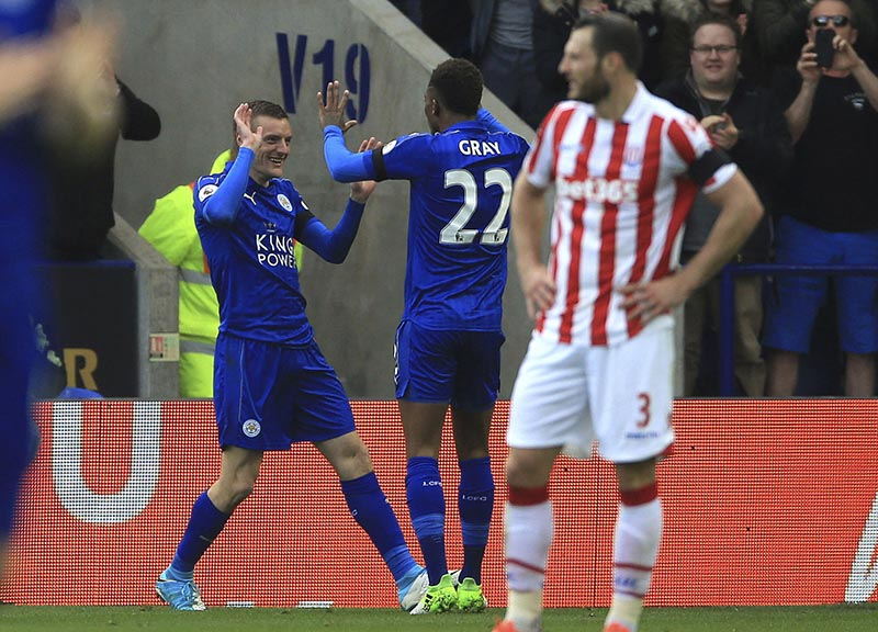 Leicester City's Jamie Vardy celebrates scoring his sides second goal against Stoke City, during their English Premier League soccer match at the King Power Stadium in Leicester, England, on Saturday April 1, 2017. Photo: Nigel French/PA via AP