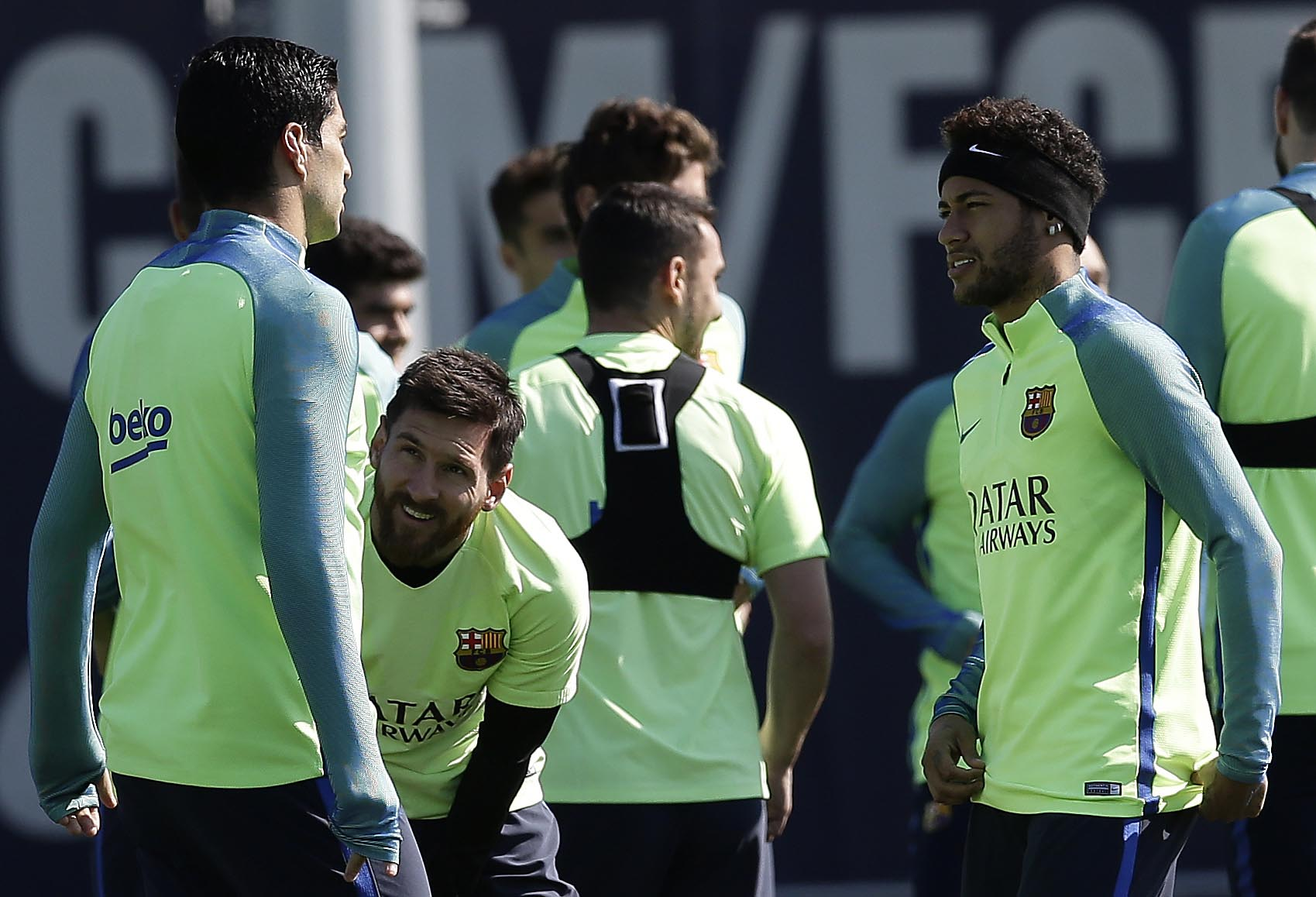 FC Barcelona's Neymar (right), Lionel Messi (second left), and Luis Suarez attend a training session at the Sports Center FC Barcelona Joan Gamper in Sant Joan Despi, Spain, on Tuesday, April 4, 2017. Photo: AP