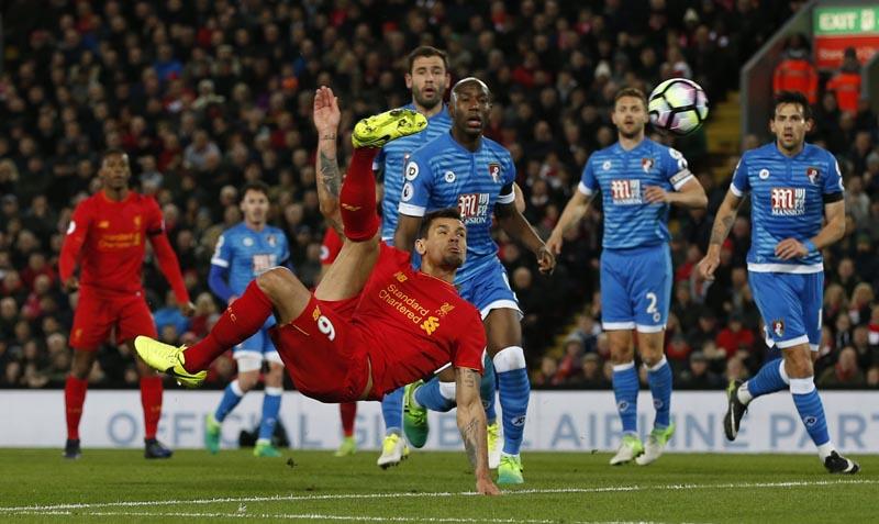 Liverpool's Dejan Lovren shoots at goal. Photo: Reuters
