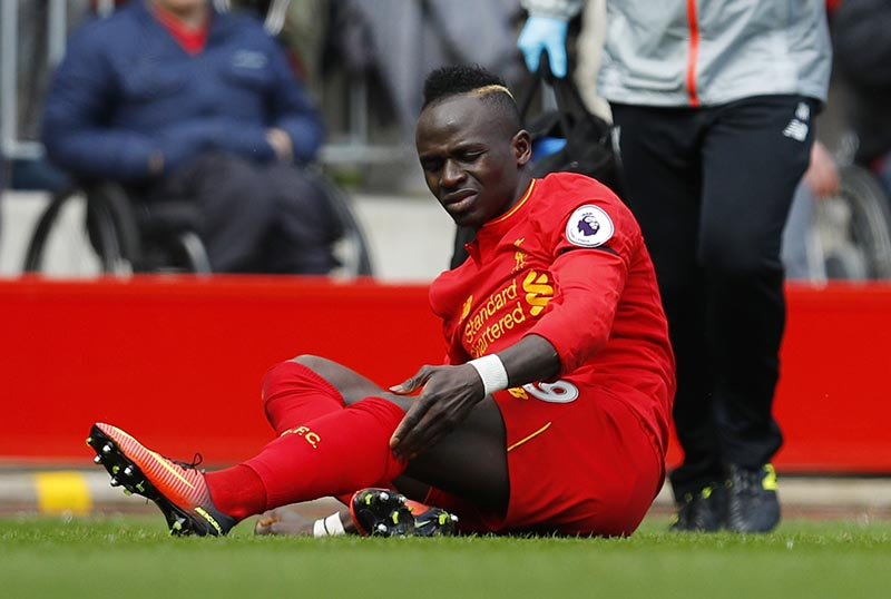 Liverpool's Sadio Mane after sustaining an injury. Photo: Reuters