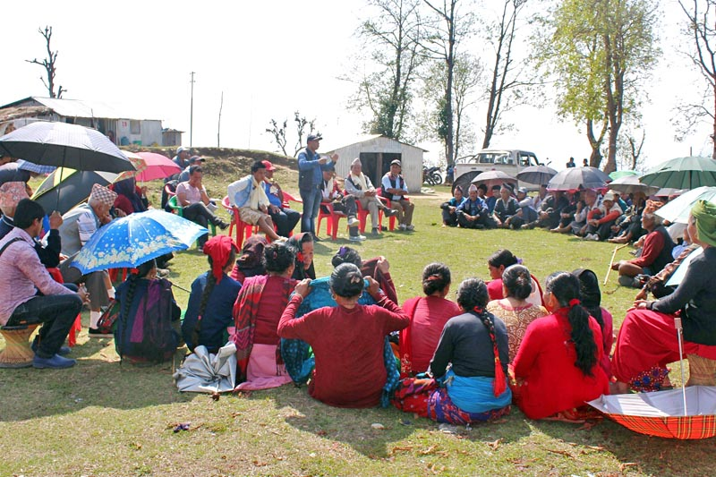 Locals discuss various issues about the upcoming May 14 local level elections in Siranchok Rural Municipality-2 in Gorkha district, on Thursday, April 6, 2017. Photo: RSS