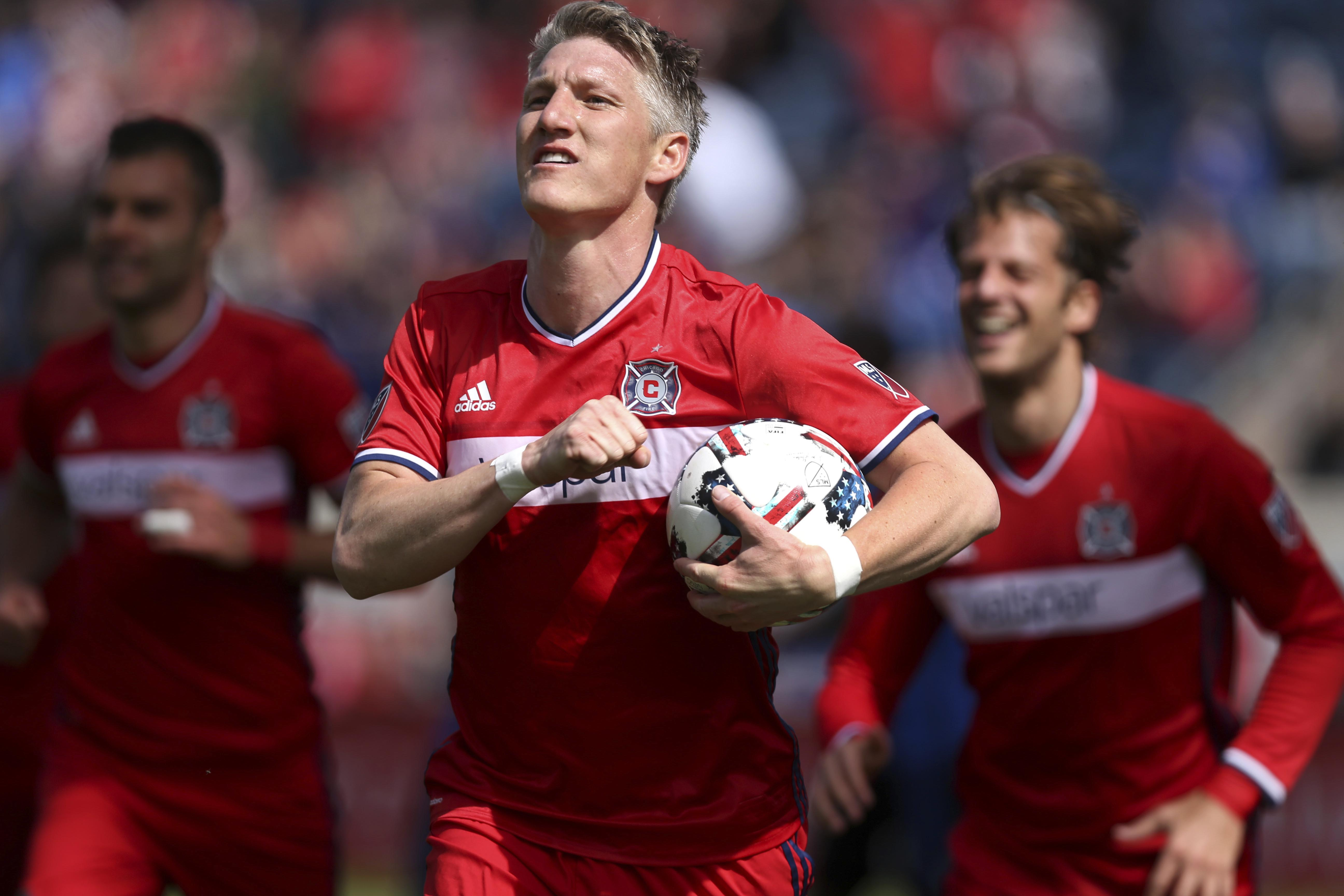 Chicago Fire midfielder Bastian Schweinsteiger (31) celebrates after scoring a goal in the first half of an MLS  soccer game against the Montreal Impact at Toyota Park in Bridgeview, Illinois, on Saturday, April 1, 2017. Photo: AP