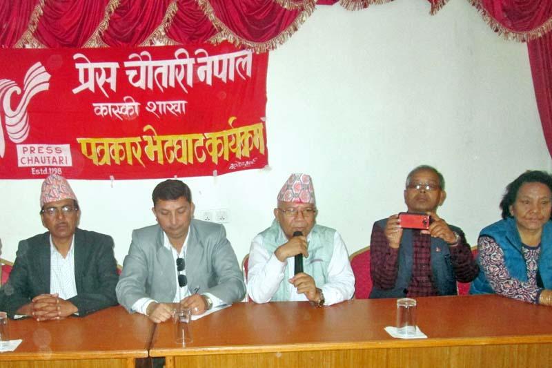 CPN-UML senior leader Madhav Kumar Nepal speaks at a press meet in Pokhara, on Monday, April 3, 2017. Photo: Rishi Ram Baral