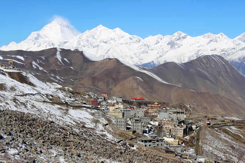 A picturesque view of a village against the backdrop of snow-covered mountain range in Mustang district, on Wednesday, April 12, 2017. Photo: RSS