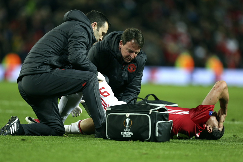 FILE - In this Thursday, April 20, 2017 file photo, Manchester United's Zlatan Ibrahimovic is checked before being taken off with an injury during the Europa League quarterfinal second leg soccer match between Manchester United and Anderlecht at Old Trafford stadium, in Manchester, England. Photo: AP