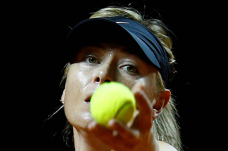 Russia's tennis player Maria Sharapova attends a training session during the Stuttgart tennis Grand Prix, Germany April 26, 2017. Photo: Reuters