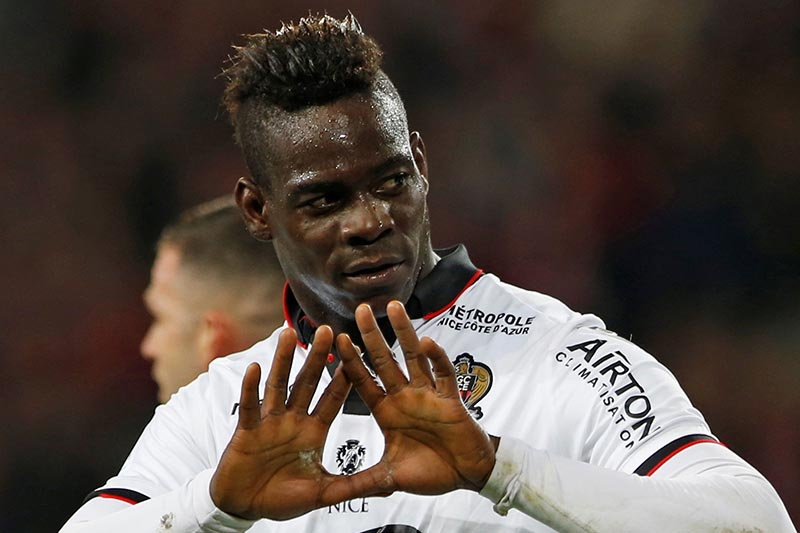 Nice's Mario Balotelli reacts after scoring. Photo: Reuters