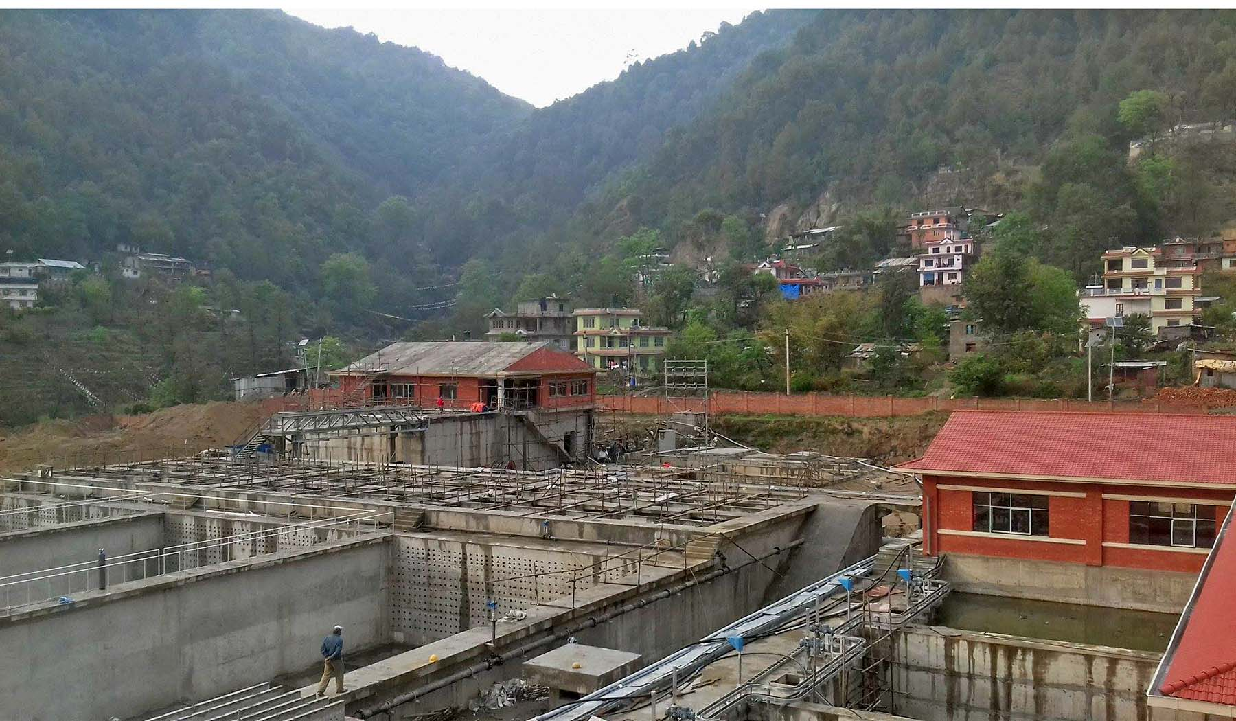 A view of an under-construction Water Treatment Plant under Melamchi Water Supply Project, in Sundarijal, Kathmandu, on Thursday, April 20, 2017. Photo: RSS