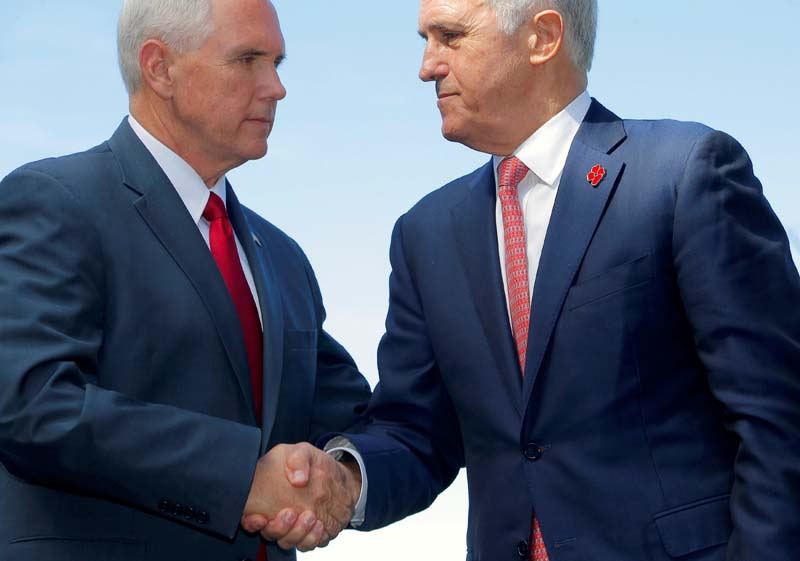 US Vice President Mike Pence (left) shakes hands with Australia's Prime Minister Malcolm Turnbull after a media conference at Admiralty House in Sydney, Australia, on April 22, 2017. Photo: Reuters