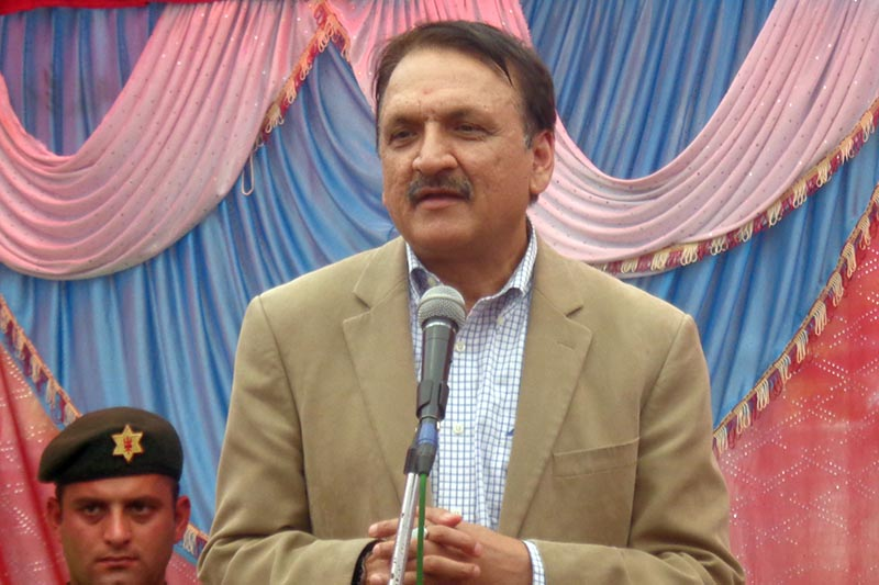 Minister for Foreign Affairs Prakash Sharan Mahat addresses a greeting exchange programme organised by the Nepali Congress Syangja-Pokhara Liaison Committee in Pokhara, on Saturday, April 15, 2017. Photo: RSS