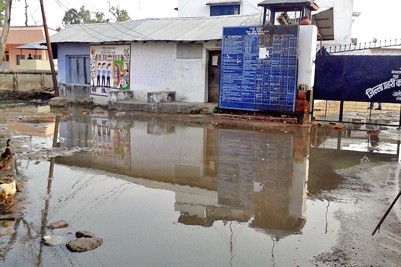 The road leading to the Mohattari District Police Office and other government offices inundated due to lack of proper drainage system in Jawaleshwor, on Wednesday, April 5, 2017. Photo: RSS