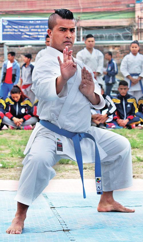 Monday Kaji Shrestha performs kata during the 48th National Karate Tournament in Kathmandu on Saturday, April 01, 2017. Photo: THT