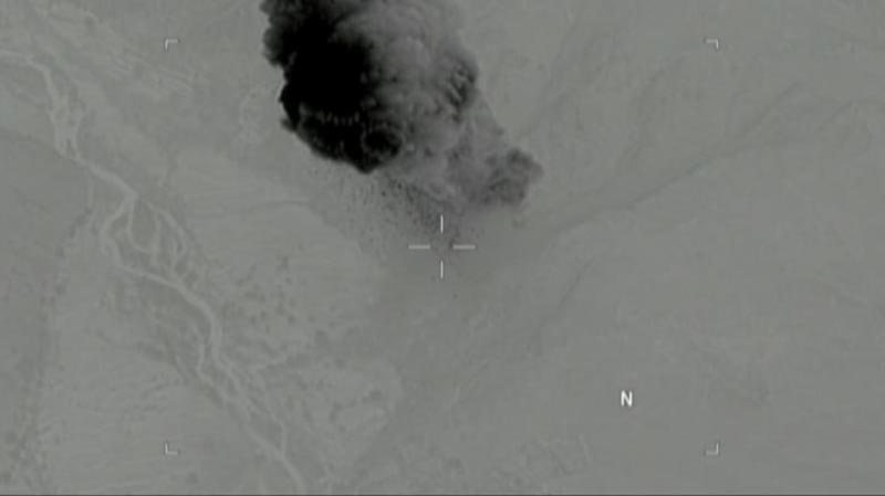 A moment after a MOAB, or 'mother of all bombs', struck the Achin district of the eastern province of Nangarhar, Afghanistan, bordering Pakistan where US officials said a network of tunnels and caves was being used by militants linked to Islamic State, on April 14, 2017. Photo: US Department of Defence/Handout via Reuters