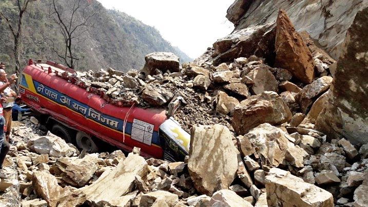 FILE PHOTO: Nepal Oil Corporation's tanker buried in a dry landslide along the Muglin-Narayangadh road section on Monday, April 3, 2017. Photo: Tilak Ram Rimal