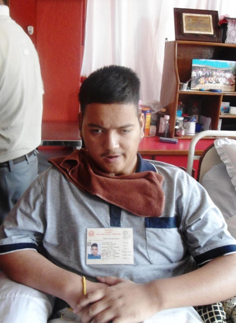 This file photo shows Mukesh Kayastha, who was  injured in the second Peopleu2019s Movement, at his house in Banepa Municipality, Kavre. Photo: THT