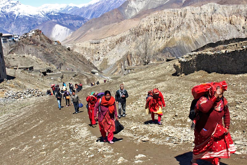 People are seen heading to Muktinath temple in Mustang district, as captured on Wednesday, April 19, 2017. Photo: RSS