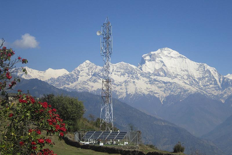 A panoramic view of mountain range in the background of a solar energy-powered telecommunication tower at Todke in Myagdi district, on Saturday, April 15, 2017. Photo: RSS