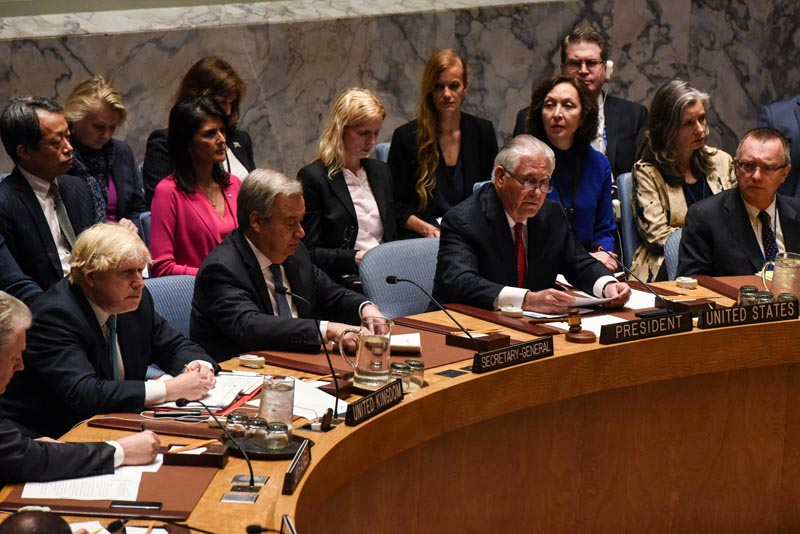 US Secretary of State Rex Tillerson speaks at a Security Council meeting on the situation in North Korea at the United Nations, in New York City, US, on April 28, 2017. Photo: Reuters