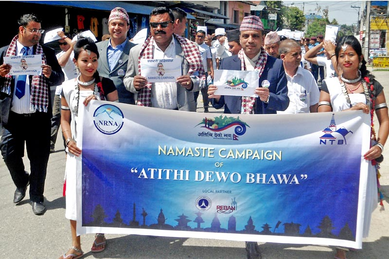 Locals take part in a Namaste campaign rally organised to welcome tourists in Sauraha of Chitwan district, on Sunday, April 9, 2017. Photo: RSS