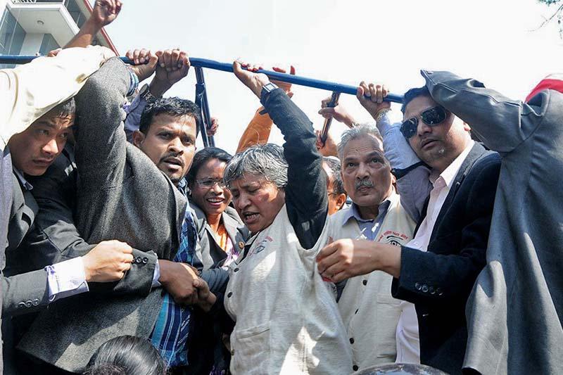 Naya Shakti Party Nepal leaders Baburam Bhattarai and Hisila Yami among others after police detained them, in Kathmandu, on Sunday, April 2, 2017. Photo Courtesy: Naya Shakti Party Nepal/Twitter