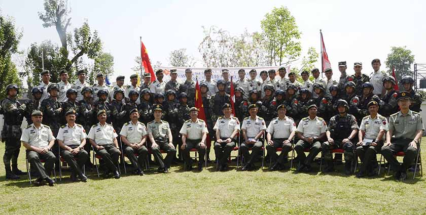 Participants of Nepal-China joint military exercise pose for photograph. Photo: Nepal Army