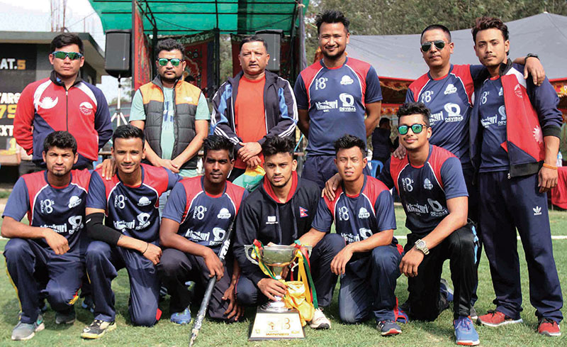Nepal Police Club players and officials celebrate after winning the Khukuri-Devibas Super Eight Cricket Tournament at the TU Stadium in Kathmandu on Saturday, April 01, 2017. Photo: Udipt Singh Chhetry/ THT