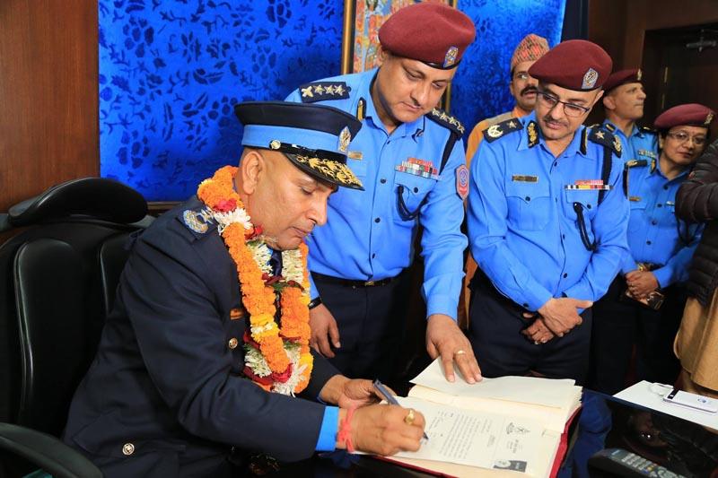 IGP Prakash Aryal assumes his office. Photo: Nepal Police