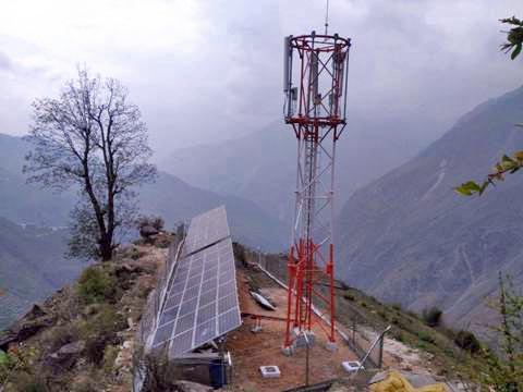 Nepal Telecom recently installed a tower at Tipling of Dhanding district, on Thursday, April 27, 2017. Courtesy: Nepal Telecom