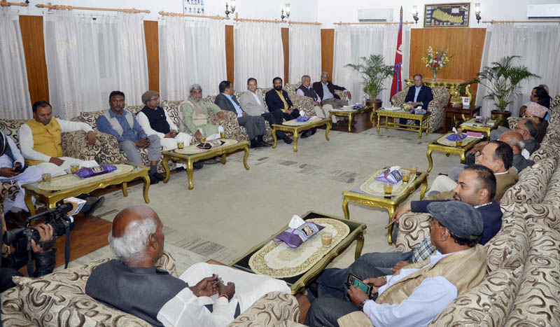 Top leaders of ruling Nepali Congress and CPN Maoist Centre holding a meeting with agitating Madhesi parties at PM's residence in Baluwatar, Kathmandu, on Friday, April 21, 2017. Photo: PM Secretariat