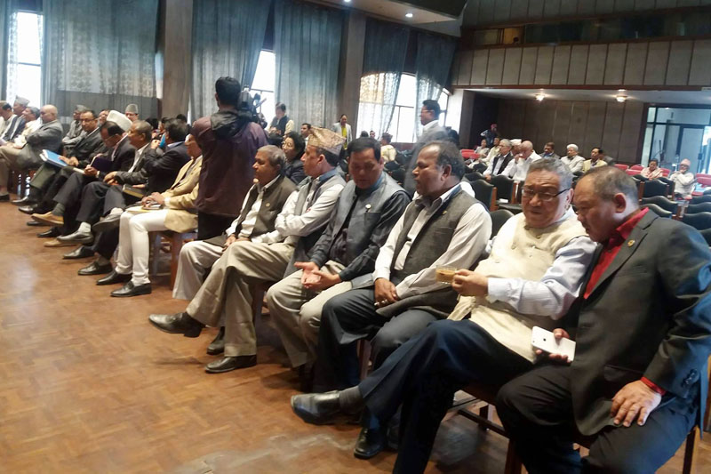 Nepali Congress leaders attend the joint meeting of the party's Parliamentary Party and Central Working Committee, in Kathmandu, on Friday, April 7, 2017. Photo: RSS