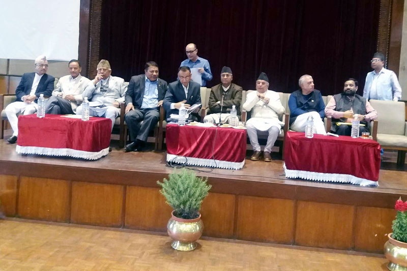 Top leaders of Nepali Congress attend the joint meeting of the party's Parliamentary Party and Central Working Committee, in Kathmandu, on Friday, April 7, 2017. Photo: RSS
