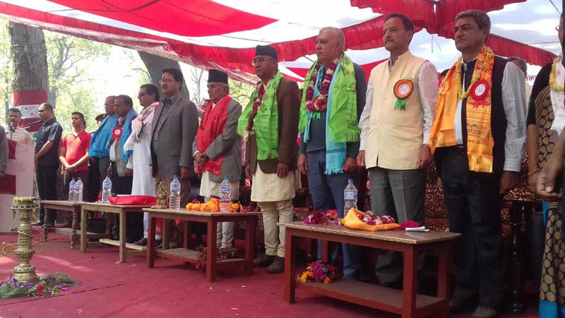 Nepali Congress President Sher Bahadur Deuba and senior leaders taking part in the party's first election campaign in Province No. 7 at Attariya in Kailali on Sunday, April 9, 2017. Photo: Tekendra Deuba